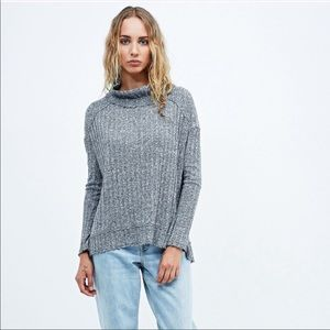 Free People Clarissa's Mock Neck Blue Marled Top L